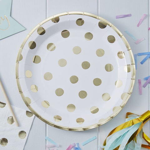 8 Piatti di Carta Polka Dot Gold | GINGER RAY | RocketBaby.it