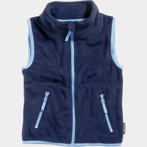 Gilet in Pile Color Contrast Navy | PLAYSHOES | RocketBaby.it