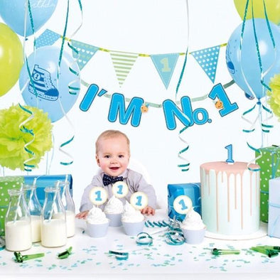 Kit per Party Tema Number One Blue | PARTY DECO | RocketBaby.it