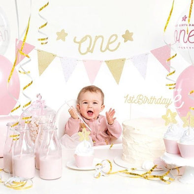 Kit per Party Tema First Birthday Gold | PARTY DECO | RocketBaby.it