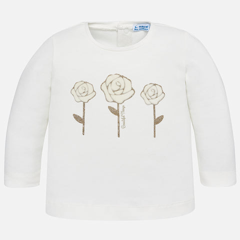 Maglia a Maniche Lunghe Rose Panna | MAYORAL | RocketBaby.it