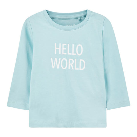 Maglia a Maniche Lunghe Hello World Canal Blue | NAME IT | RocketBaby.it
