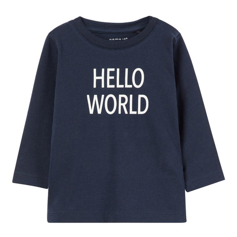 Maglia a Maniche Lunghe Hello World Dark Sapphire | NAME IT | RocketBaby.it