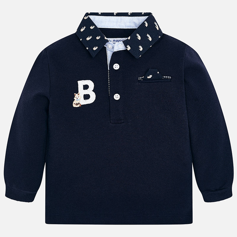 Maglia Polo a Maniche Lunghe Ricamo Blu Navy | MAYORAL | RocketBaby.it