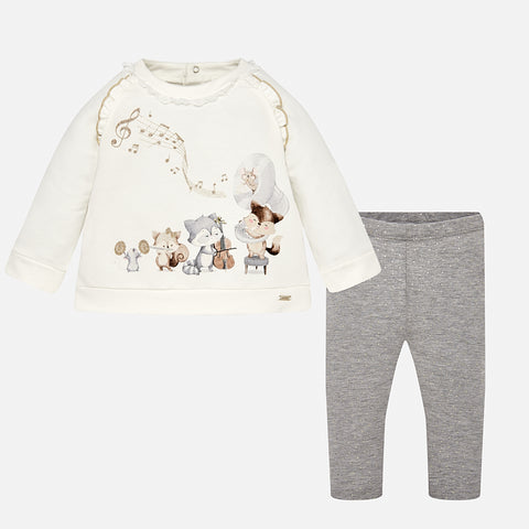 Set Completo Maglia a Maniche Lunghe e Leggings Argento | MAYORAL | RocketBaby.it