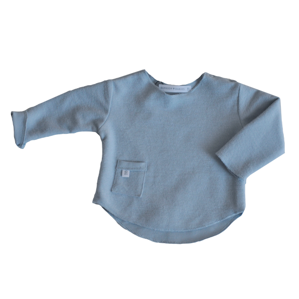 Maglietta A Maniche Lunghe Con Taschino Light Blu | BAMBOOM | RocketBaby.it