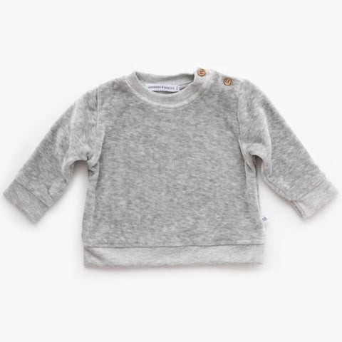 Maglietta A Maniche Lunghe In Velluto Grey Melange | BAMBOOM | RocketBaby.it