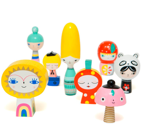 Personaggi in Legno Mr Sun and Friends | PETIT MONKEY | RocketBaby.it