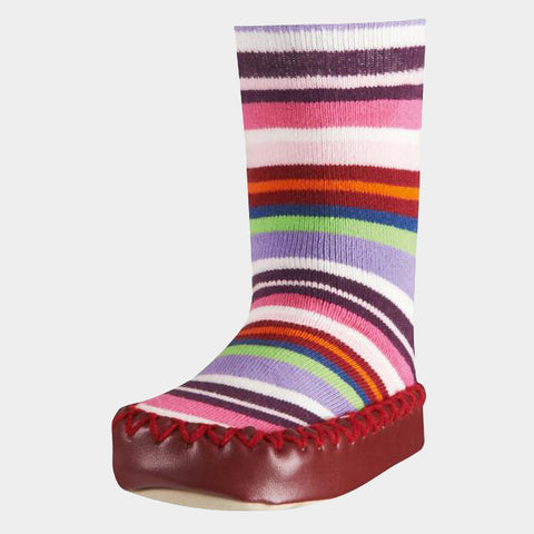 Mocassini Antiscivolo da Casa Striped Red | PLAYSHOES | RocketBaby.it