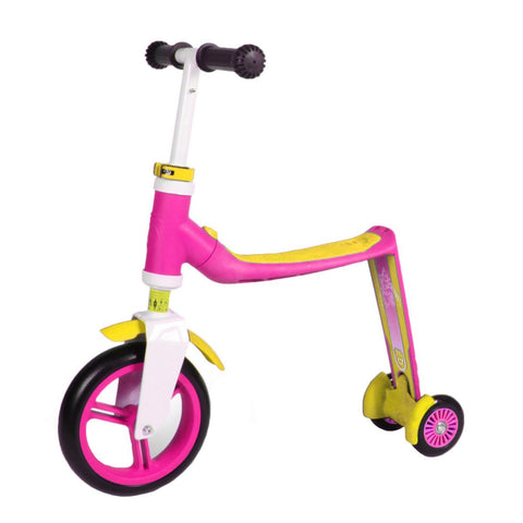Bici e Monopattino 2 in 1 Highwaybaby Plus Pink Yellow | SCOOT AND RIDE | RocketBaby.it