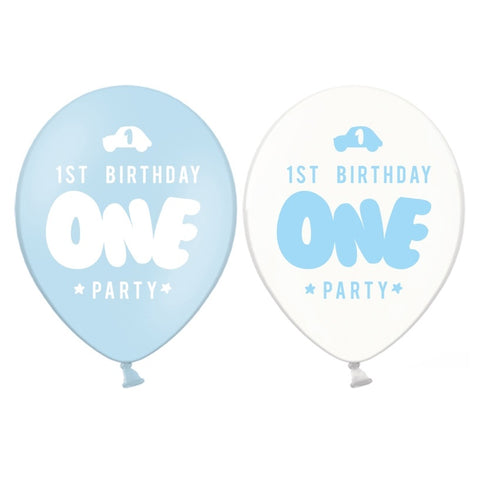 Set 6 Palloncini First Birthday Pastel Baby Blue e Crystal Clear | PARTY DECO | RocketBaby.it
