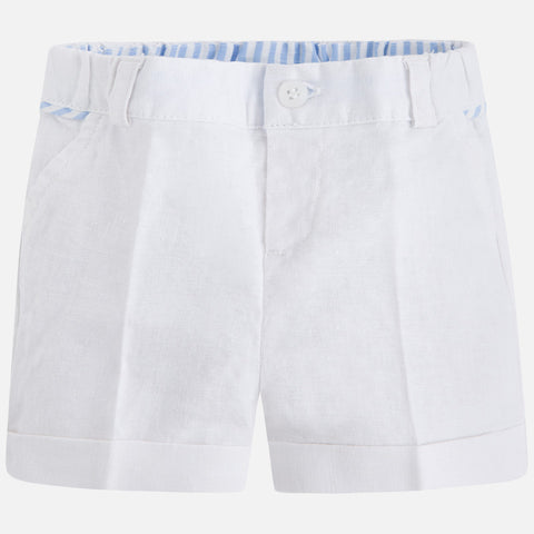 Pantaloni Corti in Lino Bianco | MAYORAL | RocketBaby.it