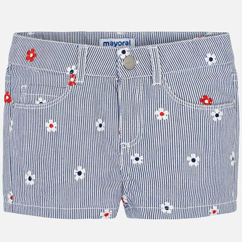 Pantaloni Corti in Jeans con Ricami Fiori | MAYORAL | RocketBaby.it