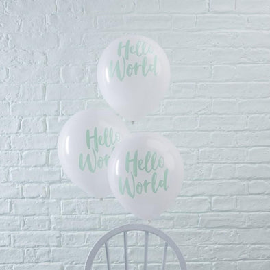 10 Palloncini Mint Hello World | GINGER RAY | RocketBaby.it