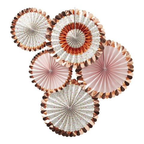5 Decorazioni a Ventaglio Rose Gold Ditsy Floral | GINGER RAY | RocketBaby.it