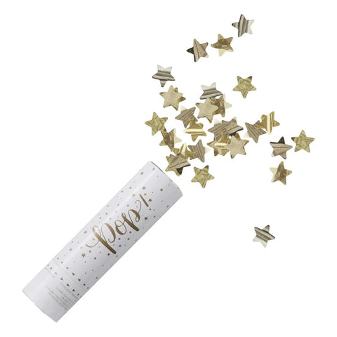 Tubo SparaCoriandoli Gold Metallic Star | GINGER RAY | RocketBaby.it