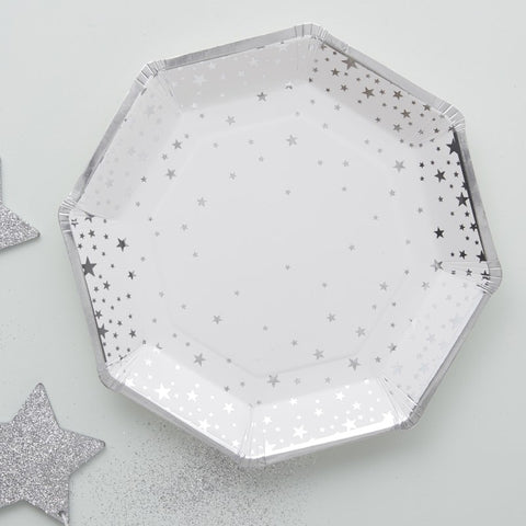 8 Piatti di Carta Silver Metallic Star | GINGER RAY | RocketBaby.it