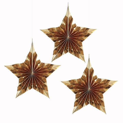 3 Decorazioni Stelle di Carta Gold Metallic | GINGER RAY | RocketBaby.it