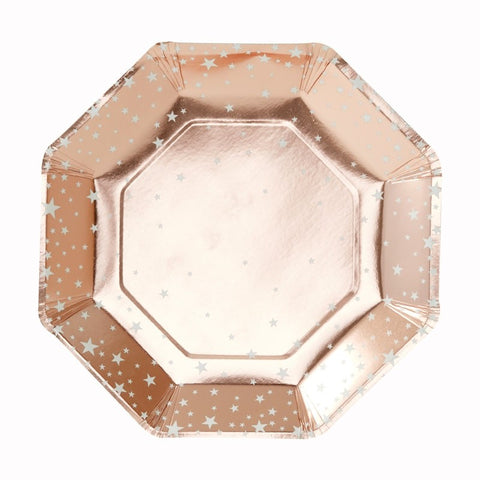 8 Piatti di Carta Rose Gold Metallic Star | GINGER RAY | RocketBaby.it