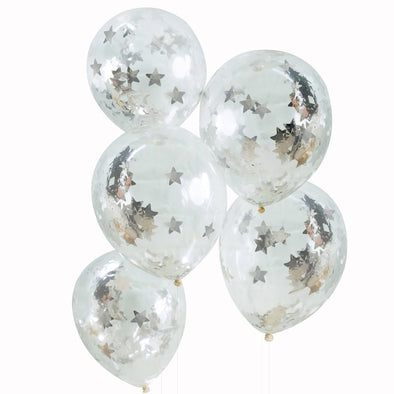 5 Palloncini con Coriandoli Silver Metallic Star | GINGER RAY | RocketBaby.it