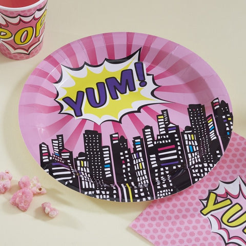 8 Piatti di Carta Yum Pink Superhero Party | GINGER RAY | RocketBaby.it