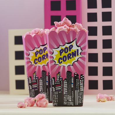 8 Sacchetti per Popcorn Pink Superhero Party | GINGER RAY | RocketBaby.it