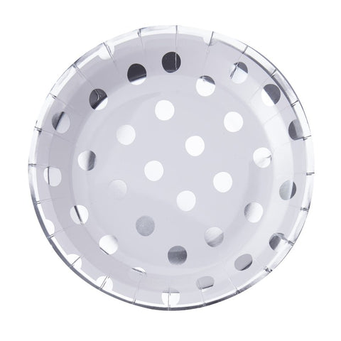 8 Piatti di Carta Silver Foiled Polka Dot | GINGER RAY | RocketBaby.it