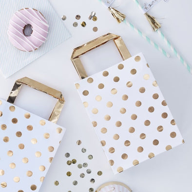 5 Sacchetti con Manici Polka Dot Gold | GINGER RAY | RocketBaby.it
