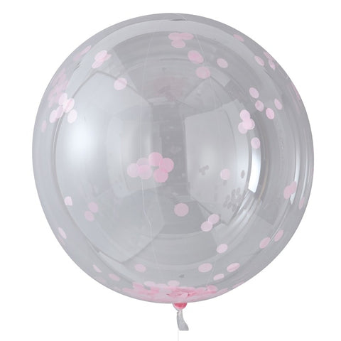 5 Palloncini Large con Coriandoli Pink | GINGER RAY | RocketBaby.it