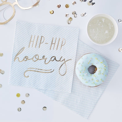 16 Tovaglioli di Carta Hip Hip Hooray Gold Blue | GINGER RAY | RocketBaby.it