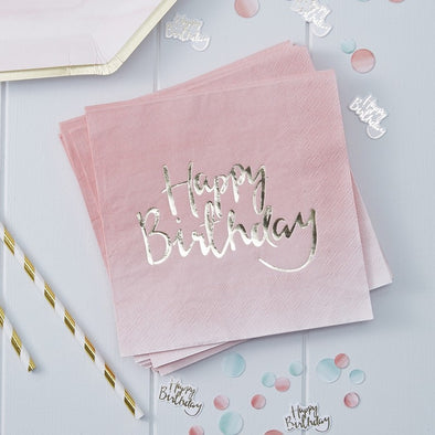 20 Tovaglioli di Carta Happy Birthday Gold Pink Ombre | GINGER RAY | RocketBaby.it