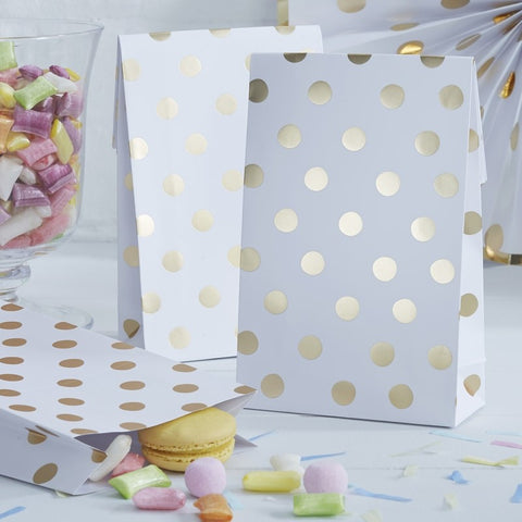 8 Sacchetti Polka Dot Gold | GINGER RAY | RocketBaby.it