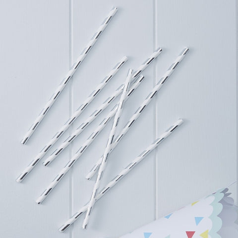 25 Cannucce di Carta Silver Metallic | GINGER RAY | RocketBaby.it