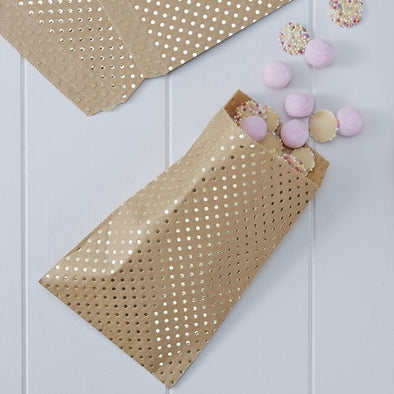 25 Sacchetti Polka Dot Gold Kraft | GINGER RAY | RocketBaby.it