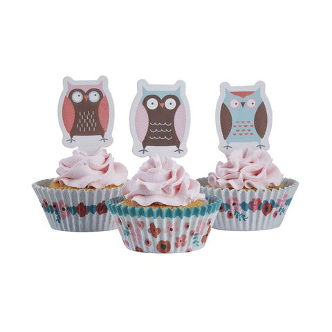 20 Decorazioni per Dolci e 50 PortaCupcake Patchwork Owl | GINGER RAY | RocketBaby.it