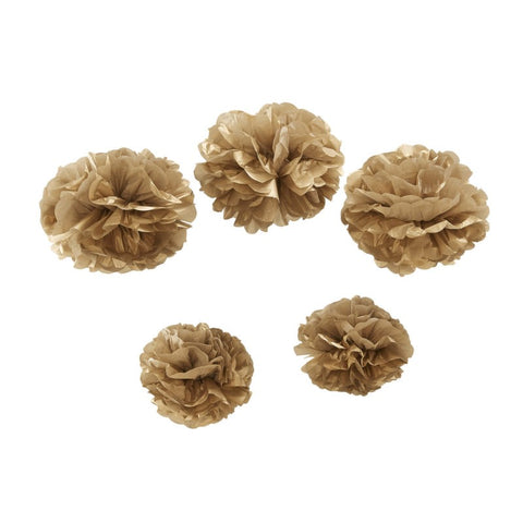 5 Pom Pom di Carta Metallic Gold | GINGER RAY | RocketBaby.it