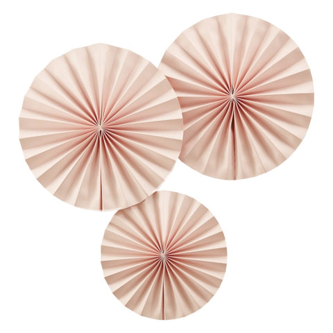 3 Decorazioni a Ventaglio Pastel Pink | GINGER RAY | RocketBaby.it