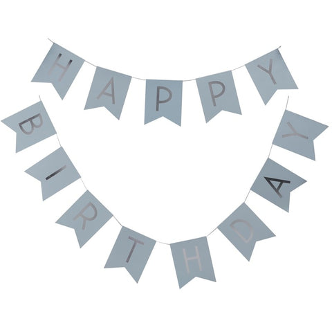 Ghirlanda Happy Birthday Baby Blue and Silver Foil | GINGER RAY | RocketBaby.it