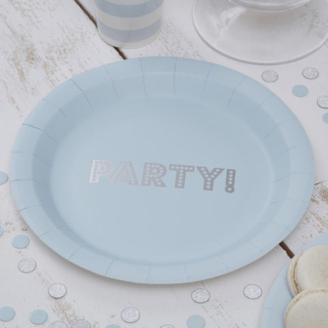 8 Piatti di Carta Baby Blue and Silver | GINGER RAY | RocketBaby.it