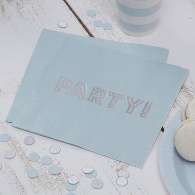 20 Tovaglioli di Carta Party Baby Blue and Silver | GINGER RAY | RocketBaby.it