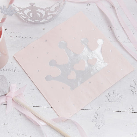 16 Tovaglioli di Carta Tiara Pink and Silver | GINGER RAY | RocketBaby.it