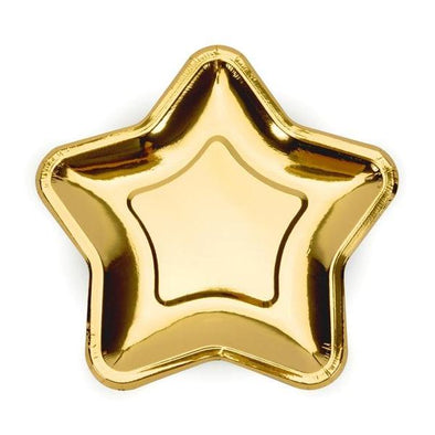 Set 6 Piatti di Carta Star 18 cm Gold | PARTY DECO | RocketBaby.it