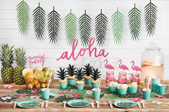 Set 6 Piatti di Carta Aloha Turquoise | PARTY DECO | RocketBaby.it