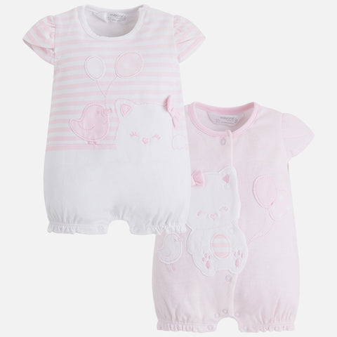 Set 2 Pigiami Corti Gattino Rosa Baby | MAYORAL | RocketBaby.it