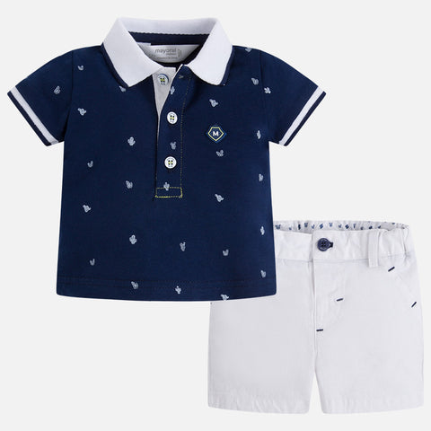Completo Pantaloni Corti e Polo Navy Bianco | MAYORAL | RocketBaby.it