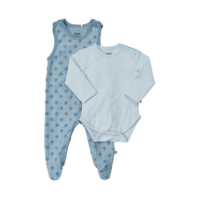 Set Salopette con Piedino Chiuso e Body a Maniche Lunghe Smoke Blue Melange | PIPPI | RocketBaby.it