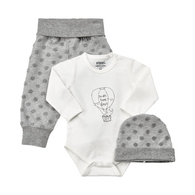 Set Body a Maniche Lunghe Pantaloni e Cuffia White | PIPPI | RocketBaby.it