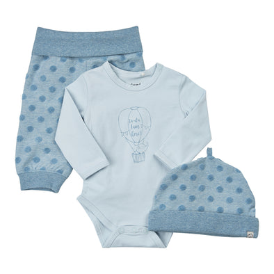 Set Body a Maniche Lunghe Pantaloni e Cuffia Baby Blue | PIPPI | RocketBaby.it