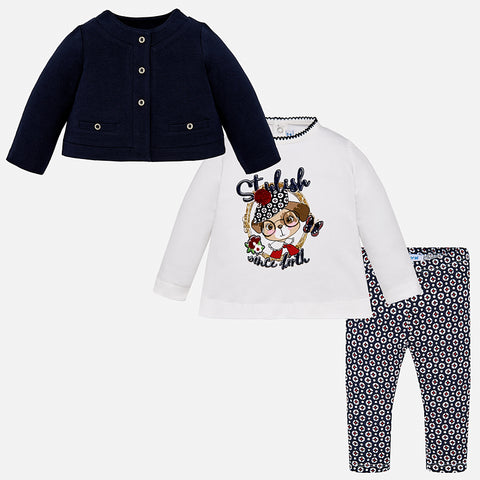 Set Completo Maglia a Maniche Lunghe, Leggings e Giacchetta Blu Navy | MAYORAL | RocketBaby.it