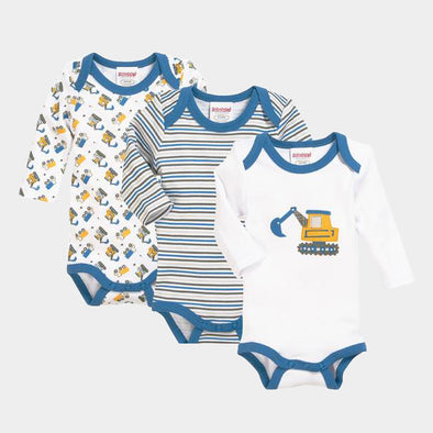 Set 3 Body a Maniche Lunghe Digger | PLAYSHOES | RocketBaby.it